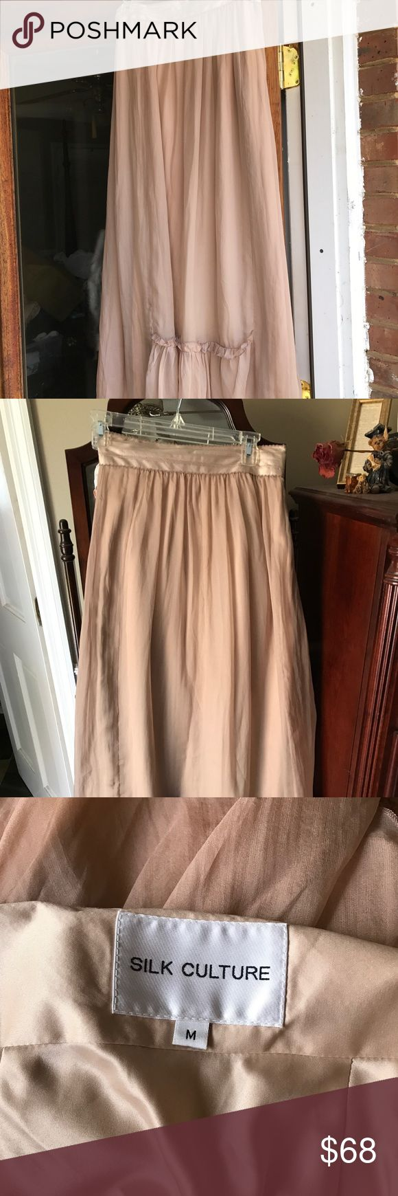 Silk Culture maxi skirt Beautiful tan maxi skirt lined with wide band at the waist zipper closure silk Culture Skirts Maxi