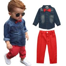 Christmas Denim Set Clothes For Boy Kid Bow Tie 2 Piece Suit Autumn Long Sleeve Shirt Top+Red Casual Trouser Suit Children Kit(China (Mainland))
