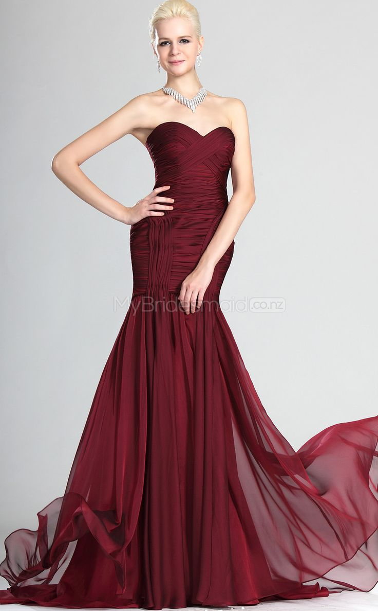 Burgundy Chiffon Trumpet/Mermaid Off The Shoulder Floor-length Bridesmaid Dresses(NZBD06507)