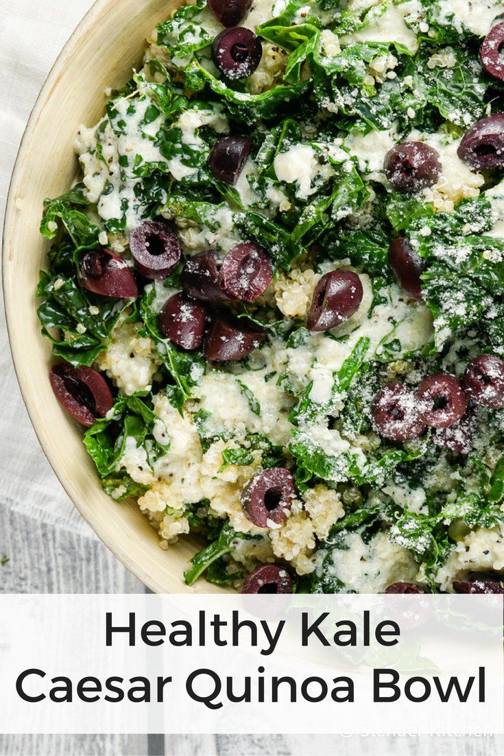A hearty Kale Caesar Quinoa Bowl that is packed with flavor without all the fat and calories of a normal Caesar dressing.This quinoa bowl, it's seriously my favorite thing for lunch lately. Hearty...