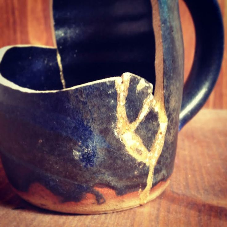Broken cup, just about to be revived with gold and a lot of patience. Golden Phoenix - Pottery rising from the ashes, http://www.golden-phoenix.de/  #Phoenix #Gold #kintsugi #kintsukuroi
