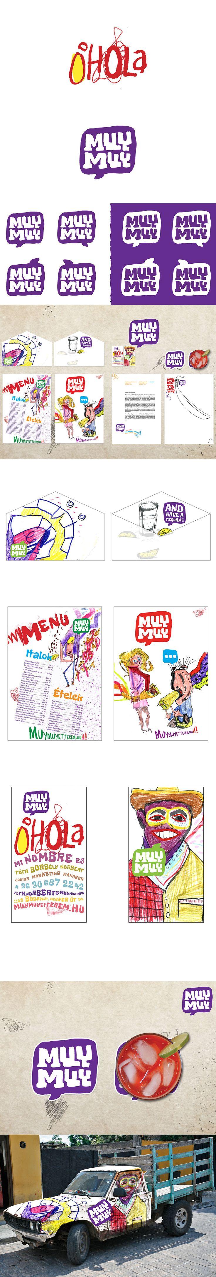 Illustrative colorful brand identity logo mexican restaurant https://www.behance.net/laszloaronboncz