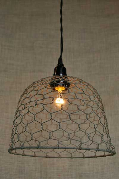 Illuminate your home or any rustic themed event with this chicken wire dome pendant light. With a 15 foot black braided cord for hanging and using a standard two prong plug, it's easy to install this pendant lamp anywhere you'd like. Hang it over your kitchen sink, your dining room table, or your kitchen island to easily add a rustic touch to any décor scheme.