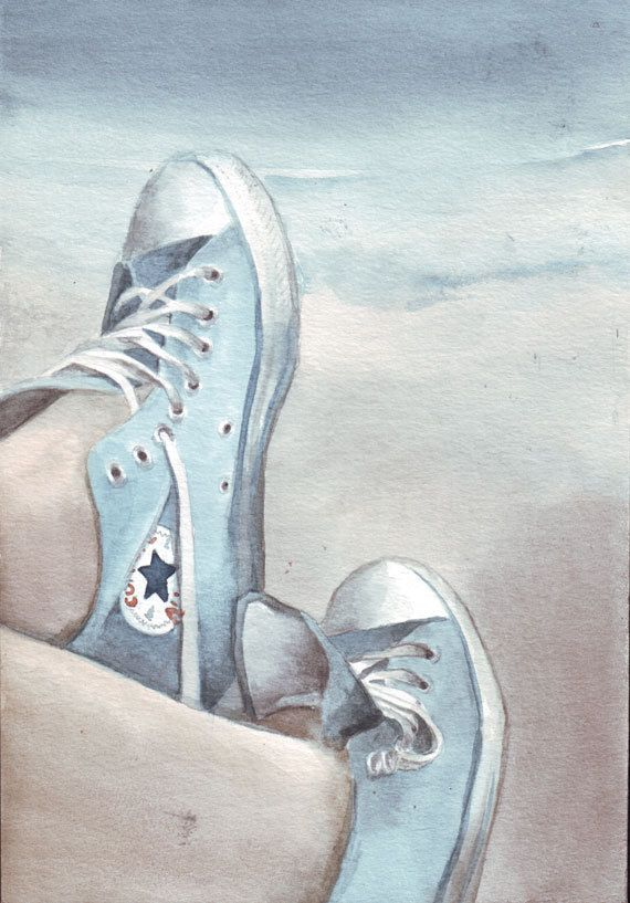 Original watercolor painting Faded Blue Converse on the Beach art