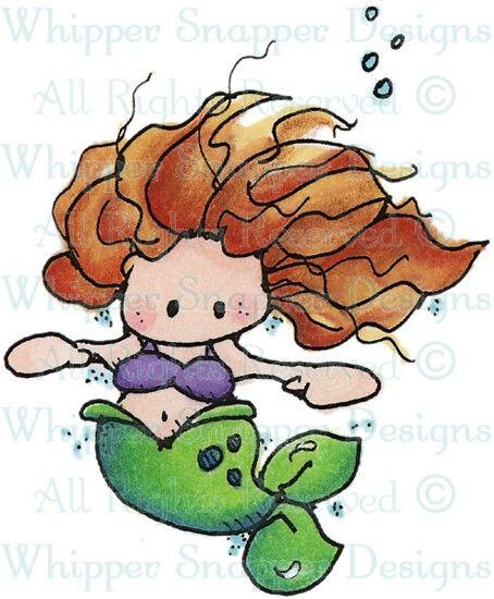 Mini Mermaid - Sealife - Animals - Rubber Stamps