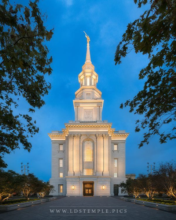 Philadelphia Temple Twilight - The blue skies of twilight above the Philadelphia Pennsylvania Temple.