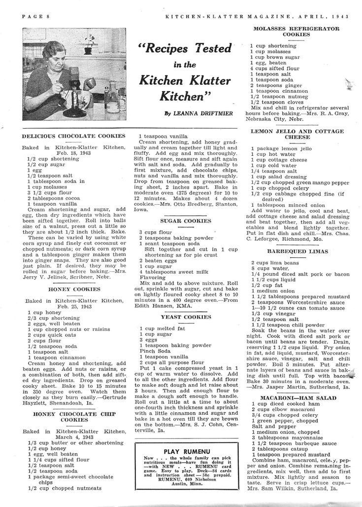 169 Best Kitchen Klatter Magazine Recipes Images On
