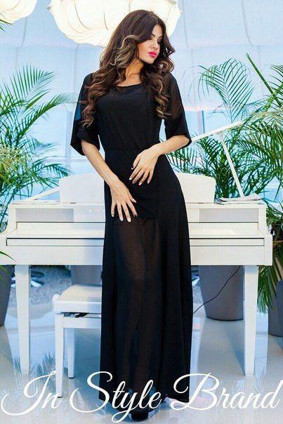 Платье женское макси черное креп+ шифон, фото 1