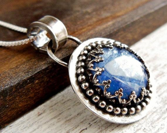Blue Kyanite Pendant Sterling Silver Gemstone by wwcsilverjewelry