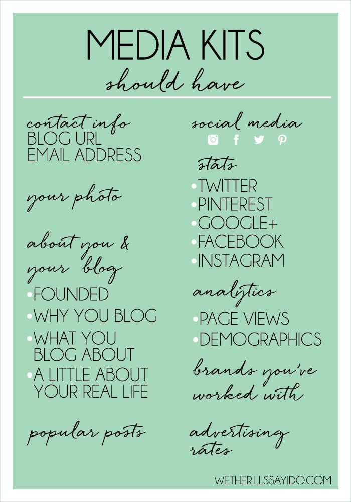 A comprehensive list of what your media kit should include!