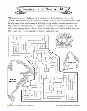 Fifth Grade History Worksheets: Colonial Maze