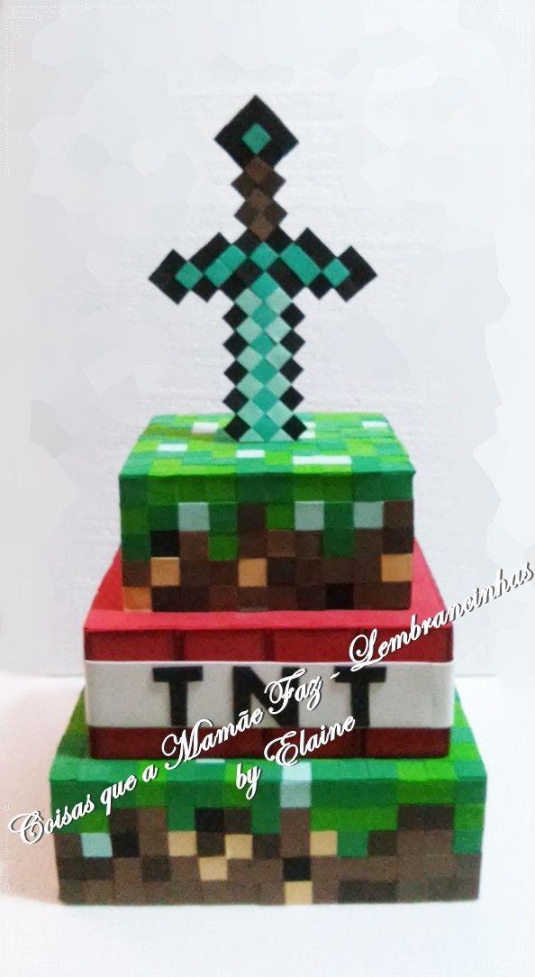 Bolo Fake Quadrado Em Eva Minecraft Tam 30 X 25 X 20 Bolo
