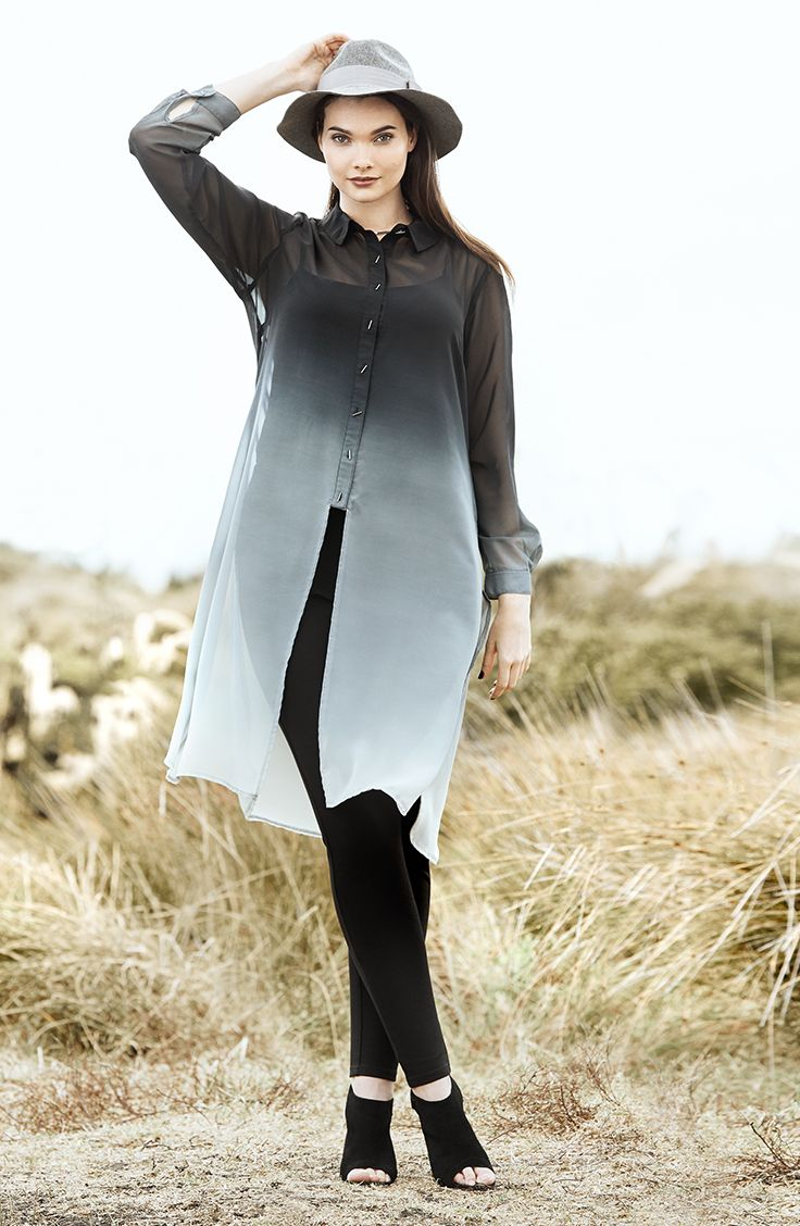 K+K - plus sized clothing for the curvy woman sizes 10-26. Ombre shirt. Ombre fashion. Ombre style. Fade to grey. Grey shirt.