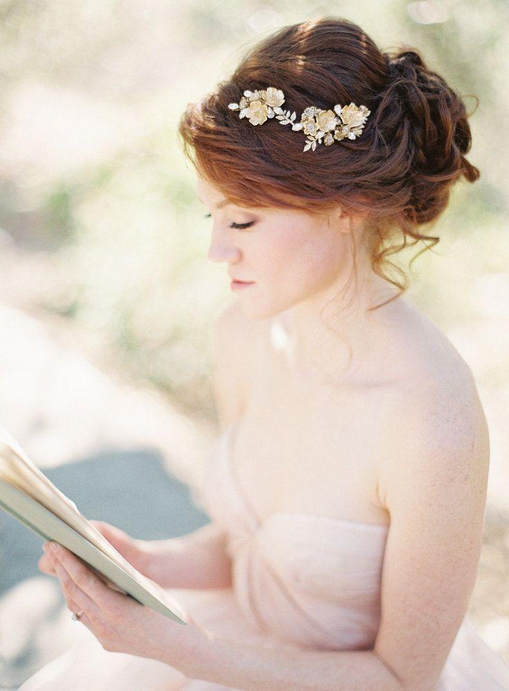 @Julena Visscher Bridal Hair Piece, Floral, Swarovski Crystal -  via Etsy.
