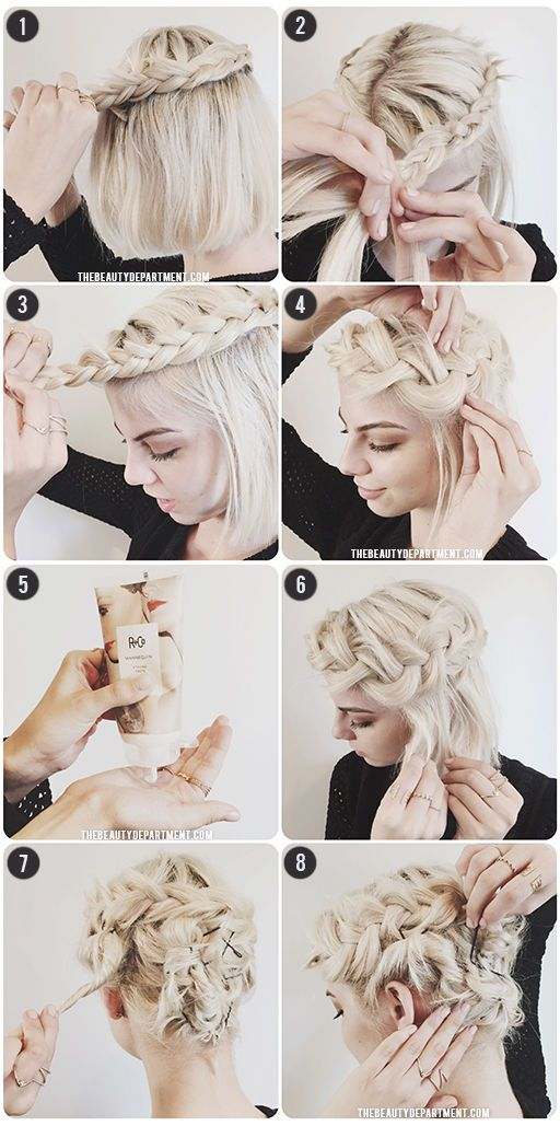 Easy and very cute braided bob hairstyle.
