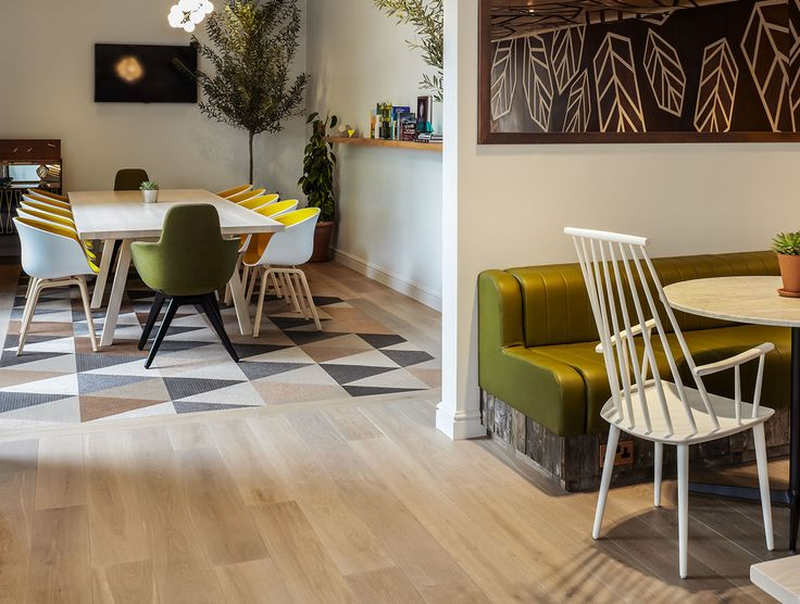 Mix 'n' match your timber flooring with other materials and textures to create unique and engaging spaces. The Hyde Park Hotel chose to mix Havwoods Oak Fendi engineered timber flooring with beautifully coloured carpet tiles. Go on, get creative!