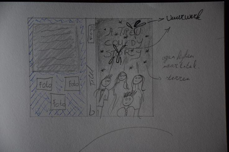 Affiche: De achterkant moest heel simpel zijn zodat de voorkant het meeste aandacht zou krijgen. De voorkant bestaat uit de acteurs, de titel in het rood en zwart en als laatste vuurwerk op de achtergrond. Het vuurwerk zou den achtergrond worden waardoor de zwarte en rode letters hierin zouden opgaan en je een mooi effect zou krijgen.