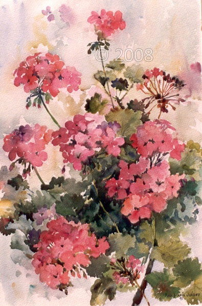 Watercolor geraniums....reminds me of the painting Carla made when she first visited us in CA...hers was better, but I like the comfort of geraniums.