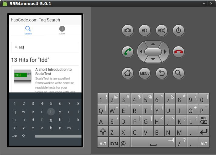 """The """"search"""" view running on the Android emulator"""