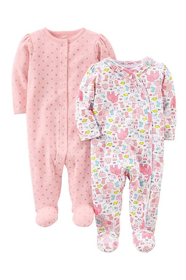 b1323f5aa08a Simple Joys by Carter s Girls  2-Pack Cotton Footed Sleep and Play ...
