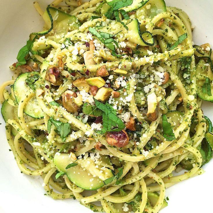 Spaghetti with Zucchini and Pistachio Pesto  - Delish.com