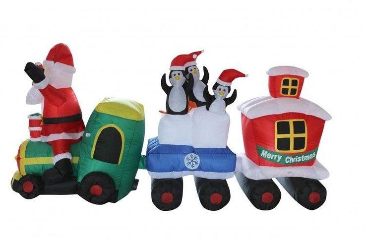Christmas Santa Train Airblown Inflatable 8 Ft Yard Garden Lighted Xmas Decor #easy_shopping08