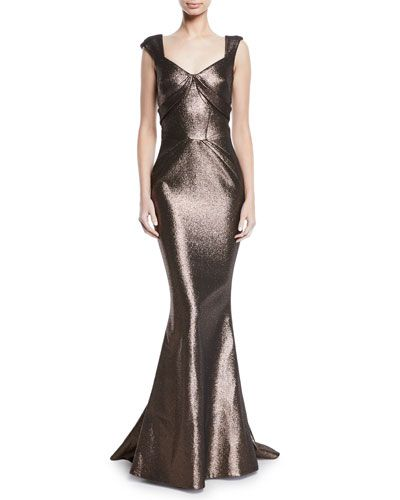 67bae06ac5b B4KUK Zac Posen Sweetheart Cap-Sleeve Lame Mermaid Gown