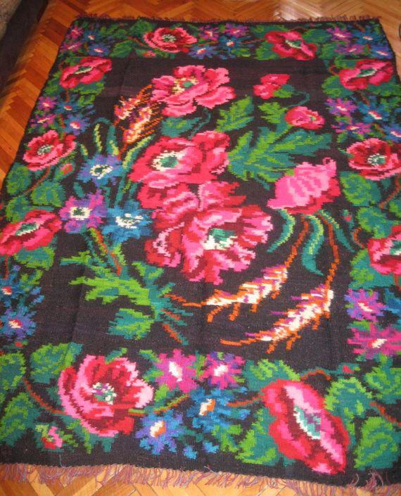Antique flat woven Romanian Bessarabian carpet by RealRomania
