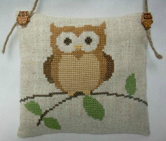 Owl On A Branch Cross Stitched Hanging Mini by luvinstitchin4u