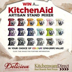 Win a KitchenAid Stand Mixer valued at $749 thanks to Delicieux and Kitchenware Direct!