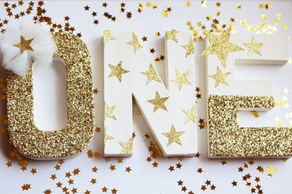 Twinkle Twinkle Little Star Birthday Decorations - Cake Table Letters by PrettyLittlePartyCo