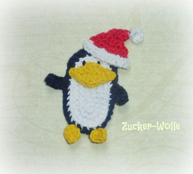 Applikationen - Applikation Weihnachts - Pinguin  - ein Designerstück von Zucker-Wolle bei DaWanda