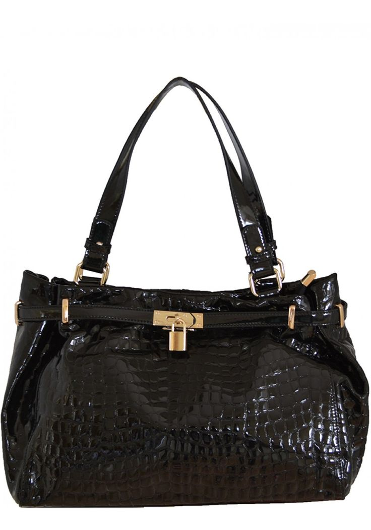 Felicia Pore -- Women's Classic Crocodile Embossed Patent Leather Handbag