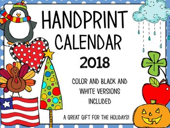 The 2018 handprint calendar makes a great gift for families during the holidays. Directions for handprints along with pictures are included in the packet. This is a great gift that families will treasure for years to come!