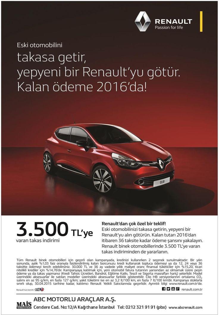 Renault'dan Çok Özel Bir Teklif! Eski otomobilinizi takasa getirin, yepyeni bir Renault'yu alın götürün. Kalan tutarı 2016'dan itibaren 36 taksite kadar ödeme şansını yakalayın. Renault binek otomobillerinde 3.500 TL'ye varan takas indiriminden de yararlanın. info@abcrenault.com 0212 321 91 91 #Renault #Fluence #Latitude #Megane #Clio #Captur #Symbol #Abc