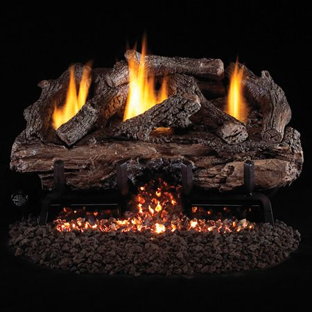 real fyre charred aged split oak ventless gas logs set with variable flame remote pilot kit - Ventless Gas Fireplaces