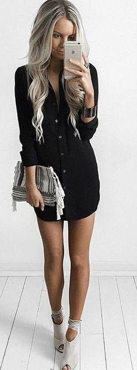 #summer #kirstyfleming #outfits | Black Shirt Dress