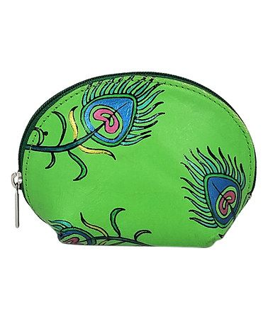 Look what I found on #zulily! Green & Blue Peacock Feather Hand-Painted Leather Coin Purse #zulilyfinds