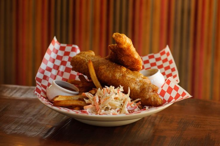 Red Beer Batter Fish & Chips with bacon tartare sauce