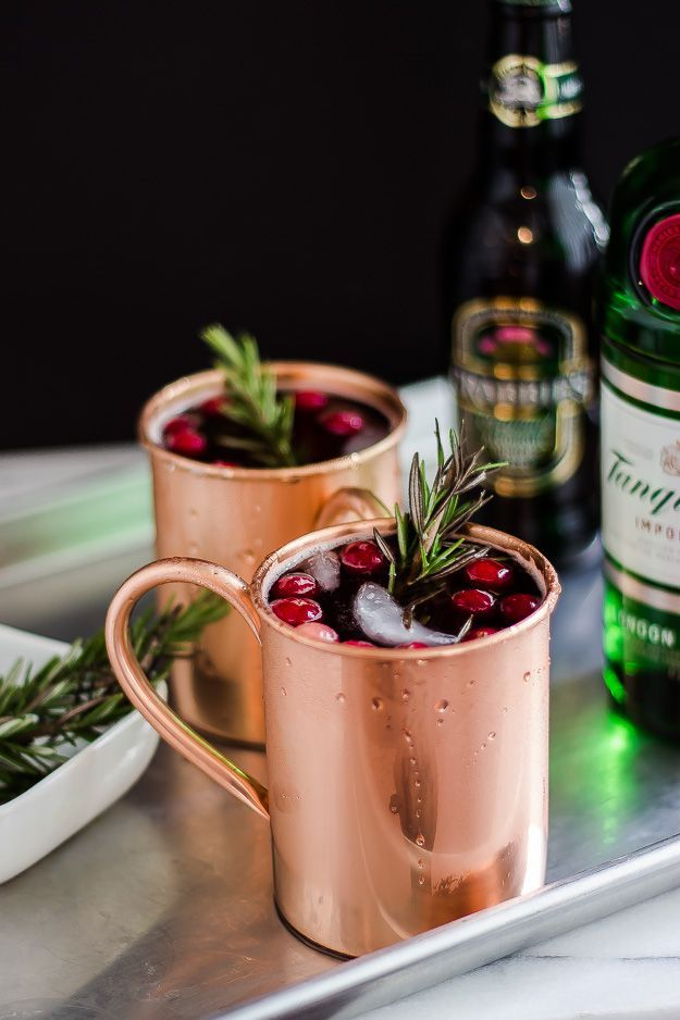 A Holiday Moscow Mule Recipe Served In Copper Mug