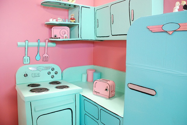 a life-size kitchen set for a short film made out of cardboard