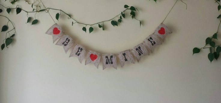 Be Mine Burlap and Lace Banner, Valentine's Day Banner, Hearts, Love, Burlap and Lace, Rustic Decor, Rustic Valentine's Day, Be Mine, Love by BootsAndDirtRoads on Etsy
