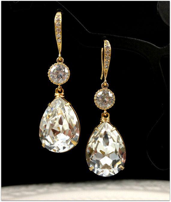 Gold Bridal Earrings Teardrop Swarovski by BeYourselfJewelry