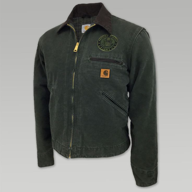 Comfort and utility come together in this Army Carhartt Sandstone Detroit Jacket/Blanket Lined.  &nbsp  12 ounce, 100% Cotton sandstone duck Blanket lining in body, quilted nylon lining in sleeves Contrasting color collar Inside pocket Snap adjustable cuffs and waist Pleated bi swing back Front chest zip pocket Front hand pockets Embroidered patch on left chest