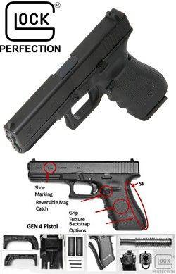Glock 19 9mm Gen 4 Pistol Fixed Sight LE/Mil