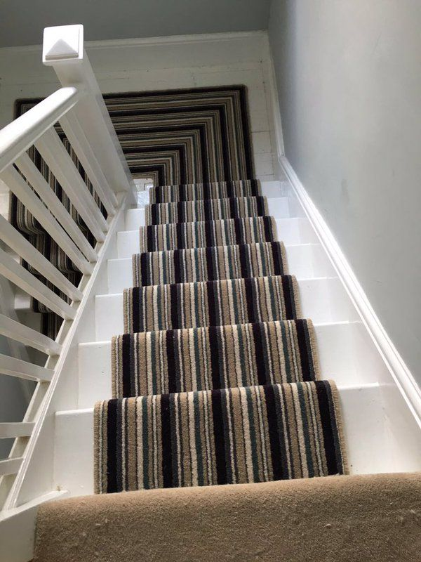 A Kingsmead carpet turned into a stair runner by F4 Flooring Ltd.