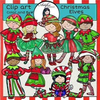 *50% off for the first 48 hours*Christmas Elves clip art set features 18 items: 9 clip arts in color. 9 clip arts in black & white. All images are 300 dpi, Png files.This clipart license allows for personal, educational, and commercial small business use.