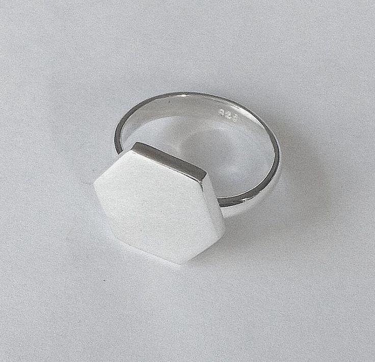 Silver Hexagon Ring