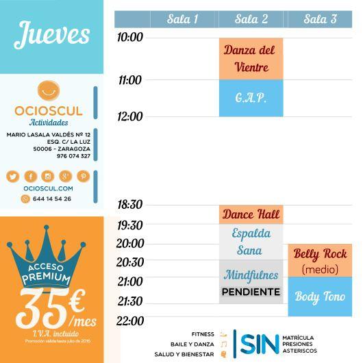 #BuenosDias #Zaragoza Actividades del Jueves: #DanzaDelVientre #GAP #DanceHall #EspaldaSana #BellyRock #BodyTono http://www.ocioscul.com/horario-completo