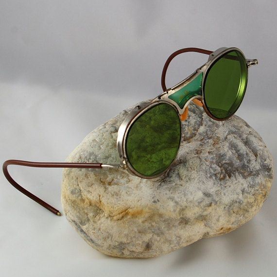 Vintage Bausch & Lomb Green Steampunk Glasses